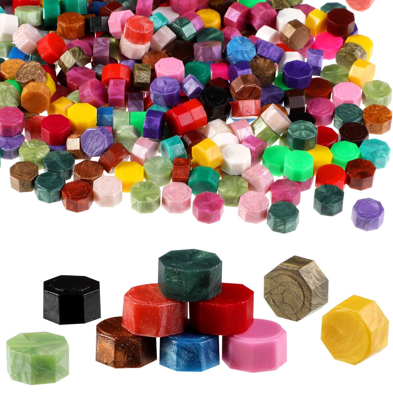 2 St/ück Siegelstiften und Wachsschmelzl/öffel zum Siegeln von Wachsstempeln 300 St/ück Mischfarben Siegelwachs Perlen mit 4 St/ück Teekerzen