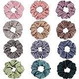 Folora 12Pcs Multicolored Hair Scrunchies Silk Elastic Hair Ties for Ponytail Holder Hair Bands for Women Girls Hair…
