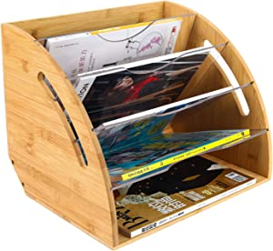 TQVAI Natural Bamboo Fan-Shaped Desktop File Organizer with Acrylic Dividers File Folder Rack - Fit for Storage Office File, A4 Documents, Magazine, Books, Original