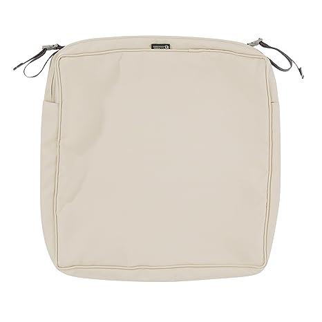 Classic Accessories Montlake Patio Seat Cushion Slip Cover Antique Beige 25x27x5