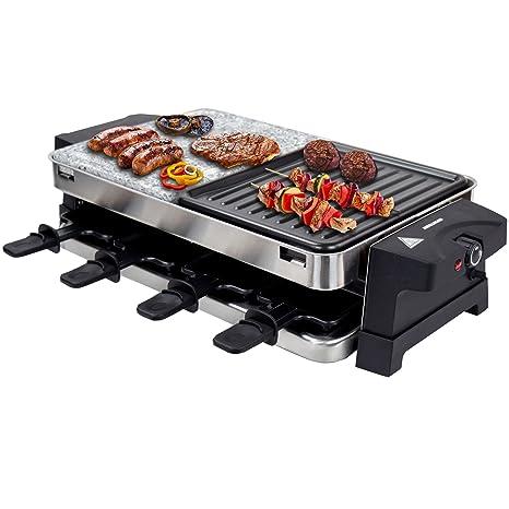 Syntrox Bern Raclette con parrilla y piedra caliente, diseño en acero inoxidable, para 8