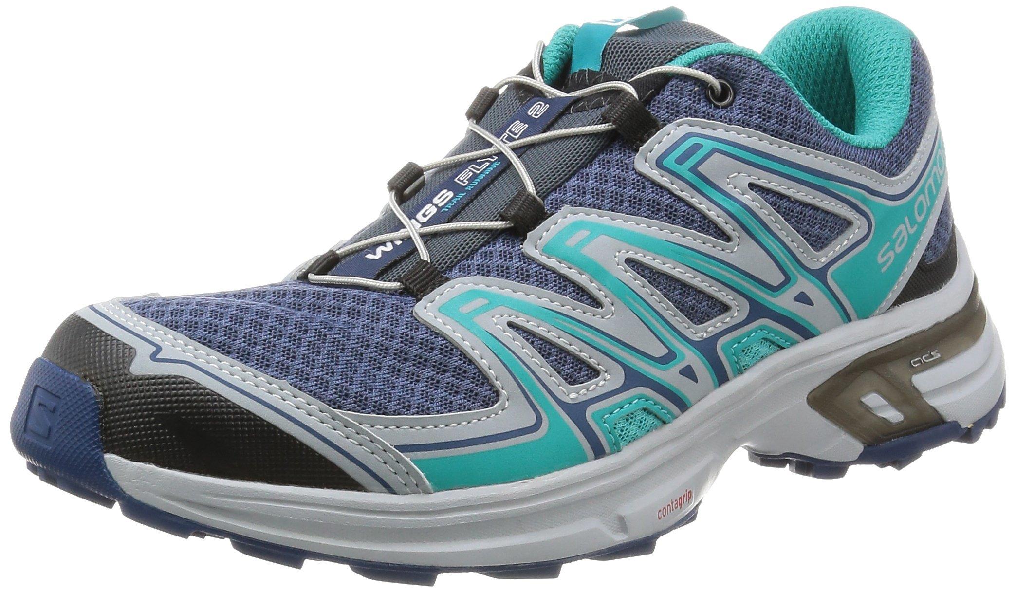 Salomon Women's Wings Flyte 2 W Trail Running Shoe, Slateblue/Light Onix/Teal Blue F, 8.5 B US