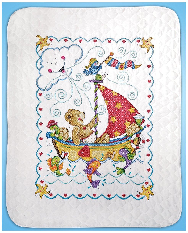 Tobin T21770 Sail Away Baby Quilt Stamped Cross Stitch Kit by Tobin