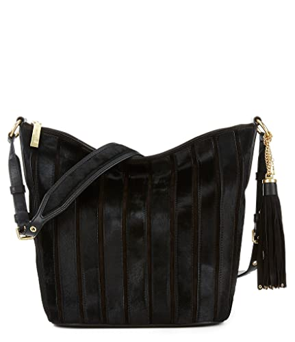 99b1df04fd03 Amazon.com: Michael Kors Brooklyn Applique Large Vertical Stripe Leather  Feed Bag (Black): Shoes