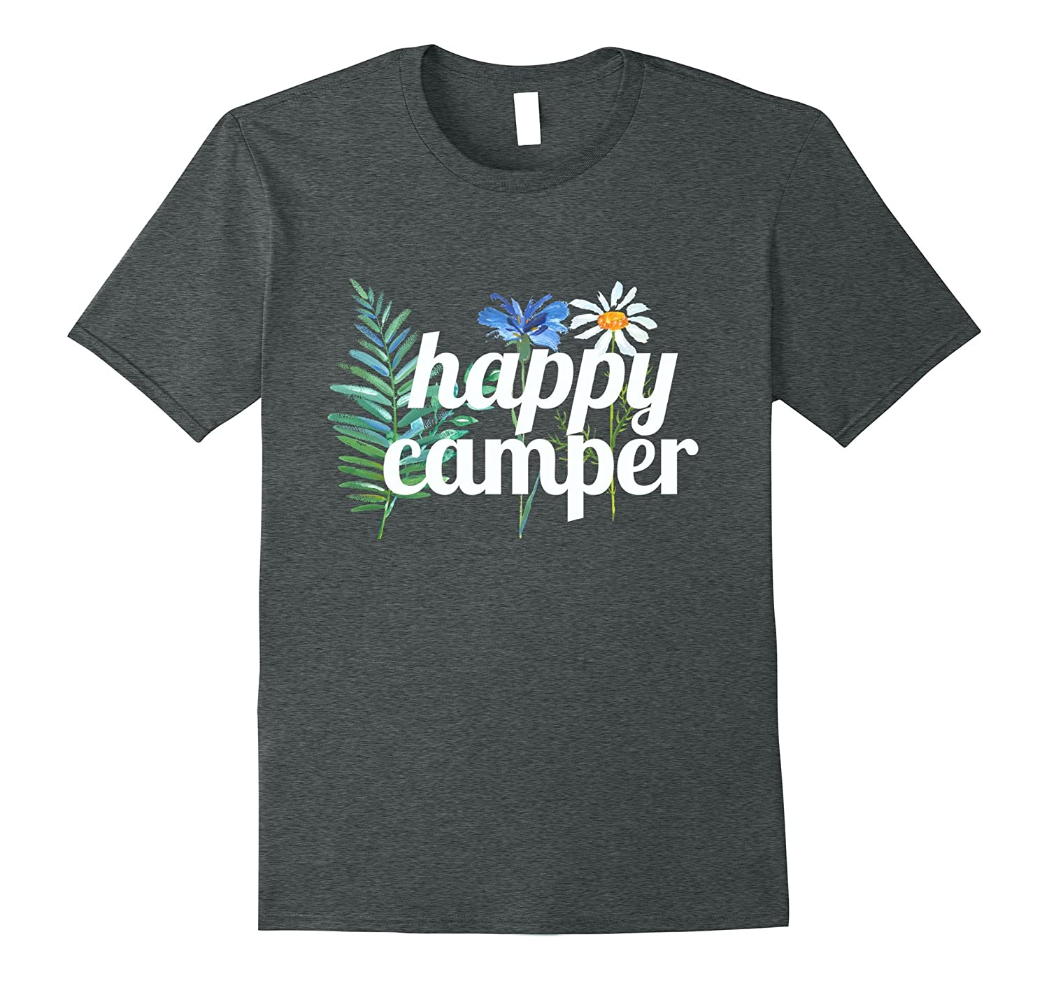 Happy Camper Camping T shirt Outdoors Nature-TH