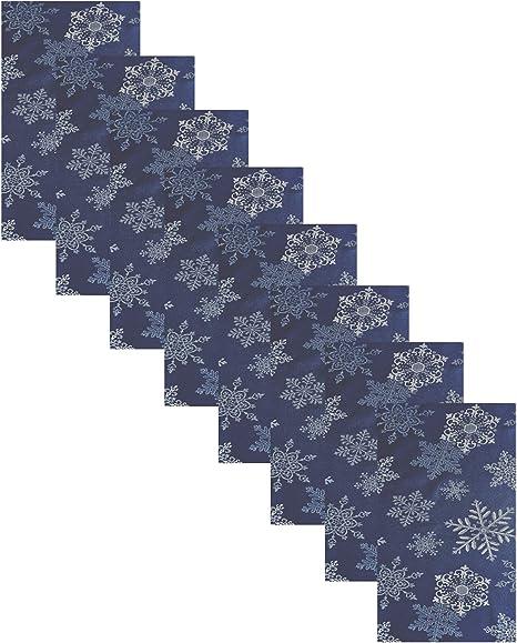 Snowflakes with silver metallic by cotton prints beautiful modern design with metallic snow flakes on white background