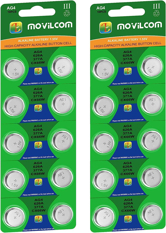 MovilCom® - 20 Pilas botón AG4 Pila Reloj 1.5V Equivalente a 377, 377A, LR626, V377, 377S, D377, SR626SW, SR66, SR626, S626E, SR628SW, LR626SW, SR66SW, SR625SW