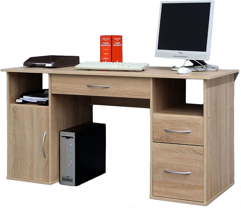 VCM Schreibtisch Tisch Computertisch Laptop PC Fach Schubladen Sonoma-Eiche