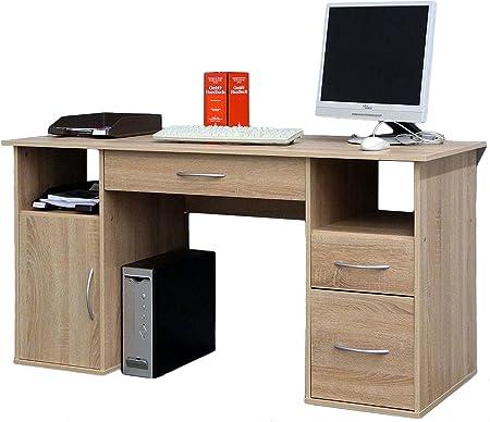 2025 Bürotisch Eiche sägerauh PC-Tisch Computertisch Eiche sägerauh
