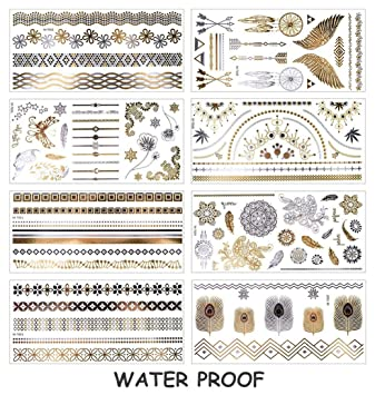 8 Sheet Metallic Temporary Tattoo Aobetak Gold And Silver Waterproof Fake Jewellery Tattoos Realistic Tribal Sticker For Women Men Kids Adults Teens