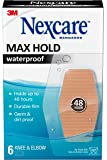 Nexcare Max Hold Waterproof Bandages, Clear, 6 ct Knee & Elbow