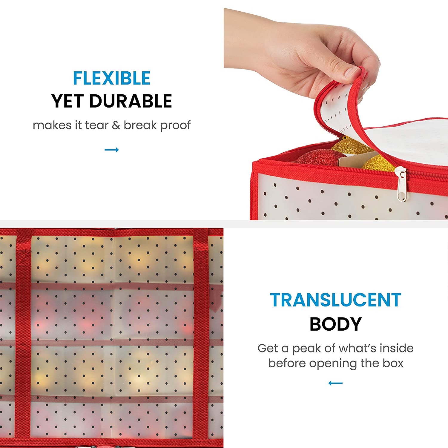 Sturdy Flexible Plastic Keeps 128 Holiday Ornaments Plastic Christmas Ornament Storage Box Large with 2 Sided Dual Zipper Closure Xmas Decorations Accessories 3 Compartments
