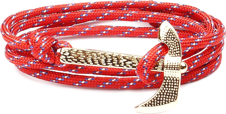 Wonlines Hip Hop Gold Alloy Ax Multi Rope Bracelet Bangle