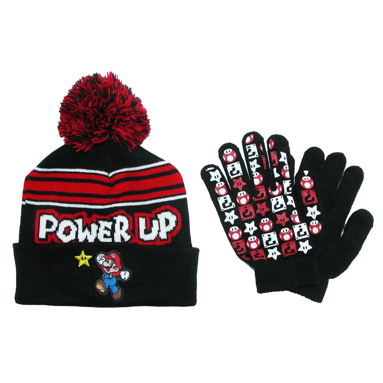 Super Mario Boys Beanie Hat and Gloves Set (Little Kid/Big Kid) Black BioWorld