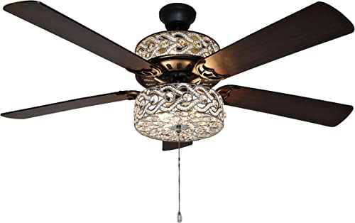 River of Goods Glam 52 Inch Width Crystal Double-Lit LED Ceiling Fan