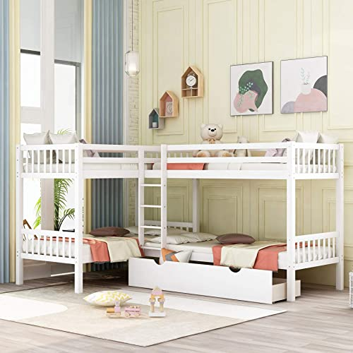 P PURLOVE Bunk Bed L-Shaped Twin Size Bed Wood Slat Support