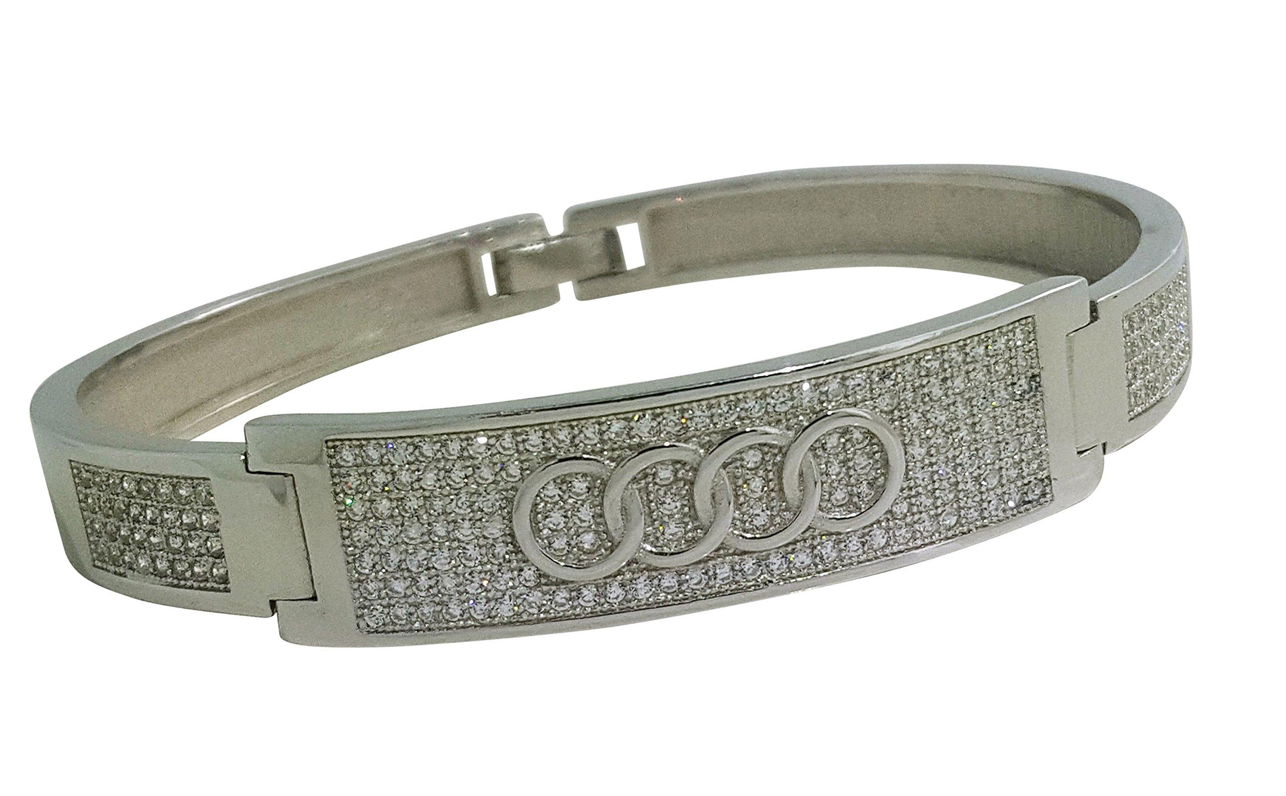 925 Solid Sterling Silver Bangle Bracelet Beautiful Intricately Made Cz Bracelet AUDI AND JAGUAR DESIGN FR21 (AUDI)