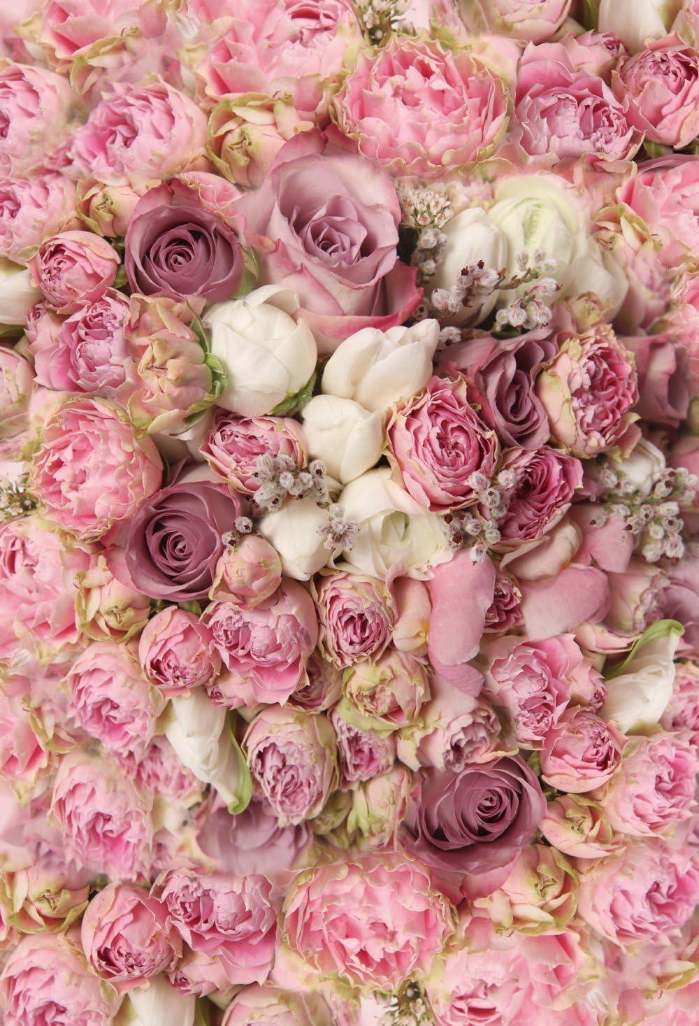Konpon Fotohintergrund Aus Baumwolle Und Polyester 150 X 220 Cm Rosafarbene Rosen Blumen Waschbar Fotostudios Requisiten