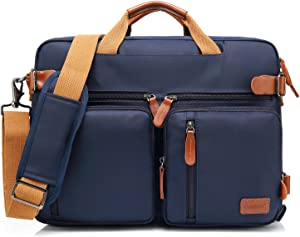 CoolBELL Convertible Backpack Messenger Bag Shoulder Bag Laptop Case Handbag Business Briefcase Multi-Functional Travel Rucksack Fits 17.3 Inch Laptop for Men/Women (Blue)