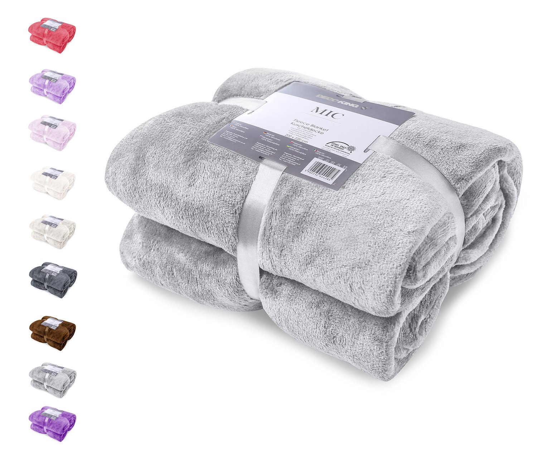 Beige Small 70x150 cm Fleece Microfibre Soft Touch Texture Large Snug Blanket //
