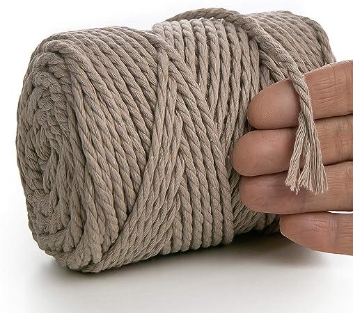 MeriWoolArt - Hilo de macramé de 4 mm - 75 m de cordel, algodón reciclado y viscosa – punto, ganchillo, macramé – Bolso, macramé, atrapasueños (Beige, 4 mm x 75 m): Amazon.es: Hogar