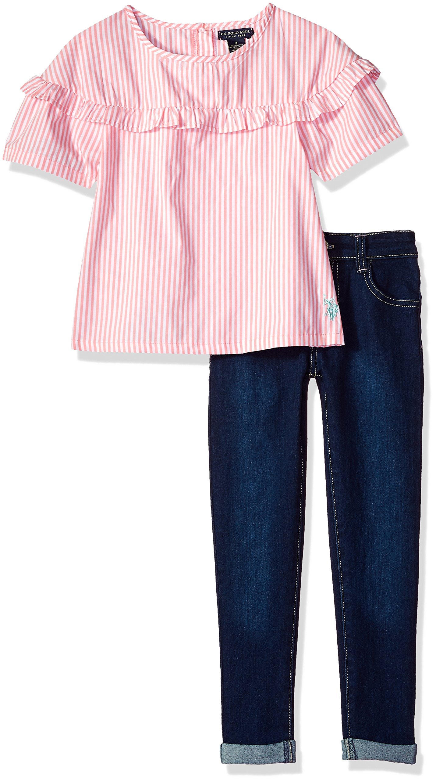 U.S. Polo Assn. Toddler Girls' Fashion Top and Pant Set, Ruffle Chest Bell Sleeve Top Roll Cuff Pant Conch Shell, 2T
