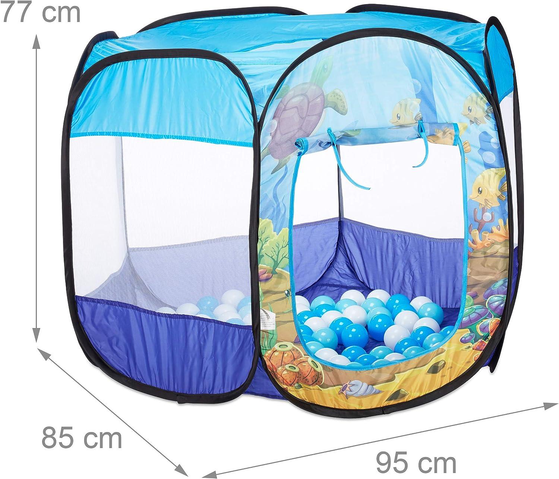 Relaxdays Piscina Plegable del Fondo Marino con 100 Bolas 10024759 77 X 95 X 85 Cm Color Azul