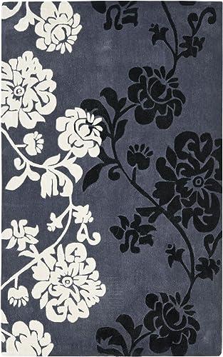 Safavieh Modern Art Collection MDA623A Handmade Elegant Contemporary Floral Dark Grey and Multi Polyester Area Rug 9 x 12