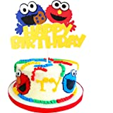 PANTIDE Sesame Inspired Birthday Cake Topper, Happy Birthday Sesame Cake Topper Party Decoration Party Supplies Elmo…