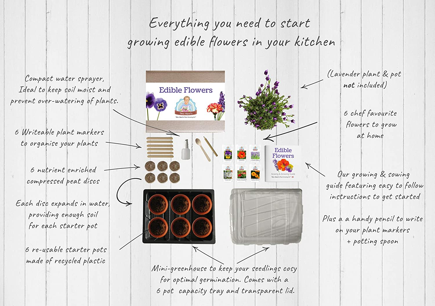 Mrs Henri/'s Plant Growing Kit The Ideal Gift for The Foodie who Enjoys Cooking and Wants Their own Edible Flower Garden. Grow 6 Edible Flowers from Seed Edible Flowers