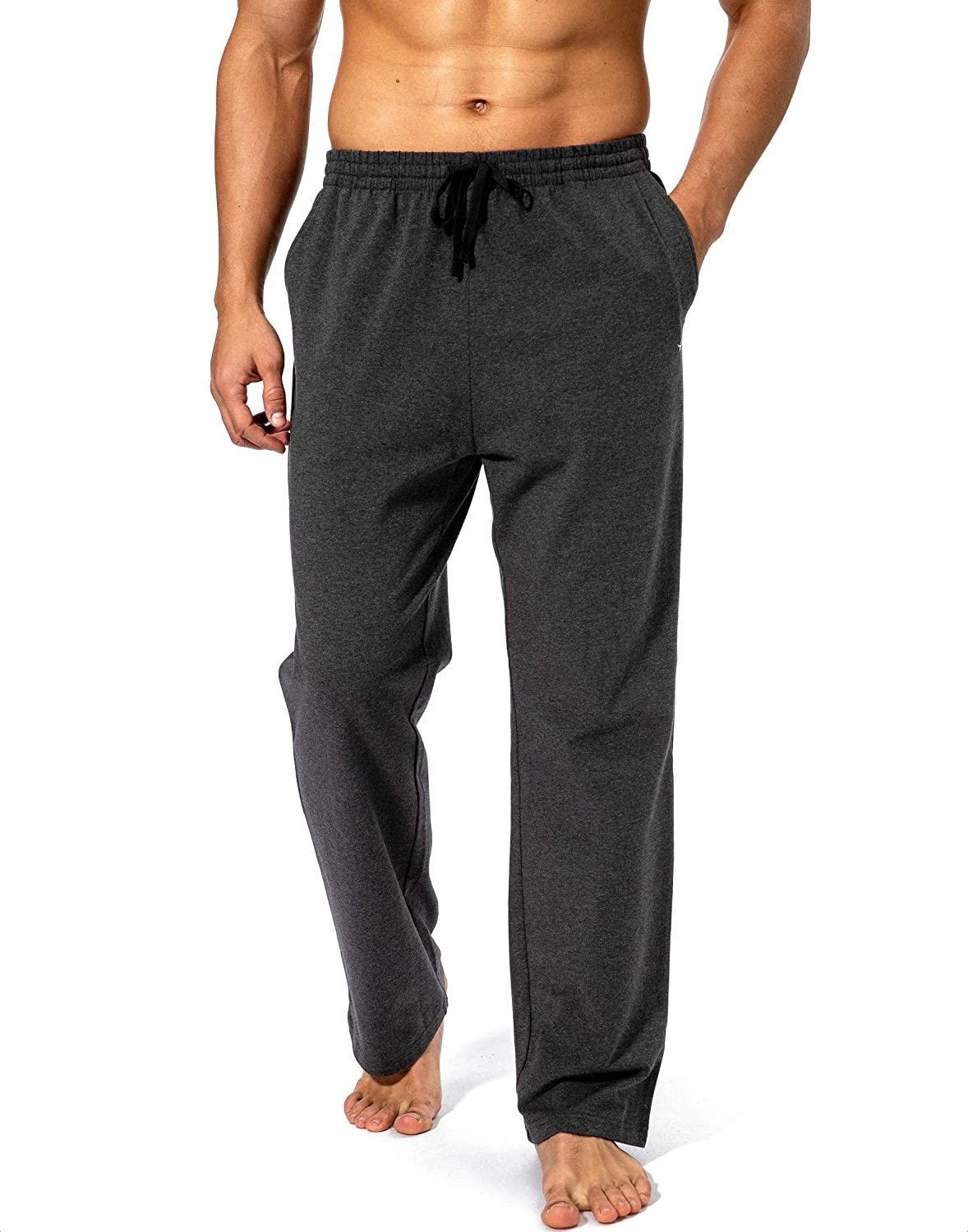 Pudolla Men's Cotton Yoga Sweatpants Athletic Lounge Pants Open Bottom Casual Jersey Pants for Men with Pockets