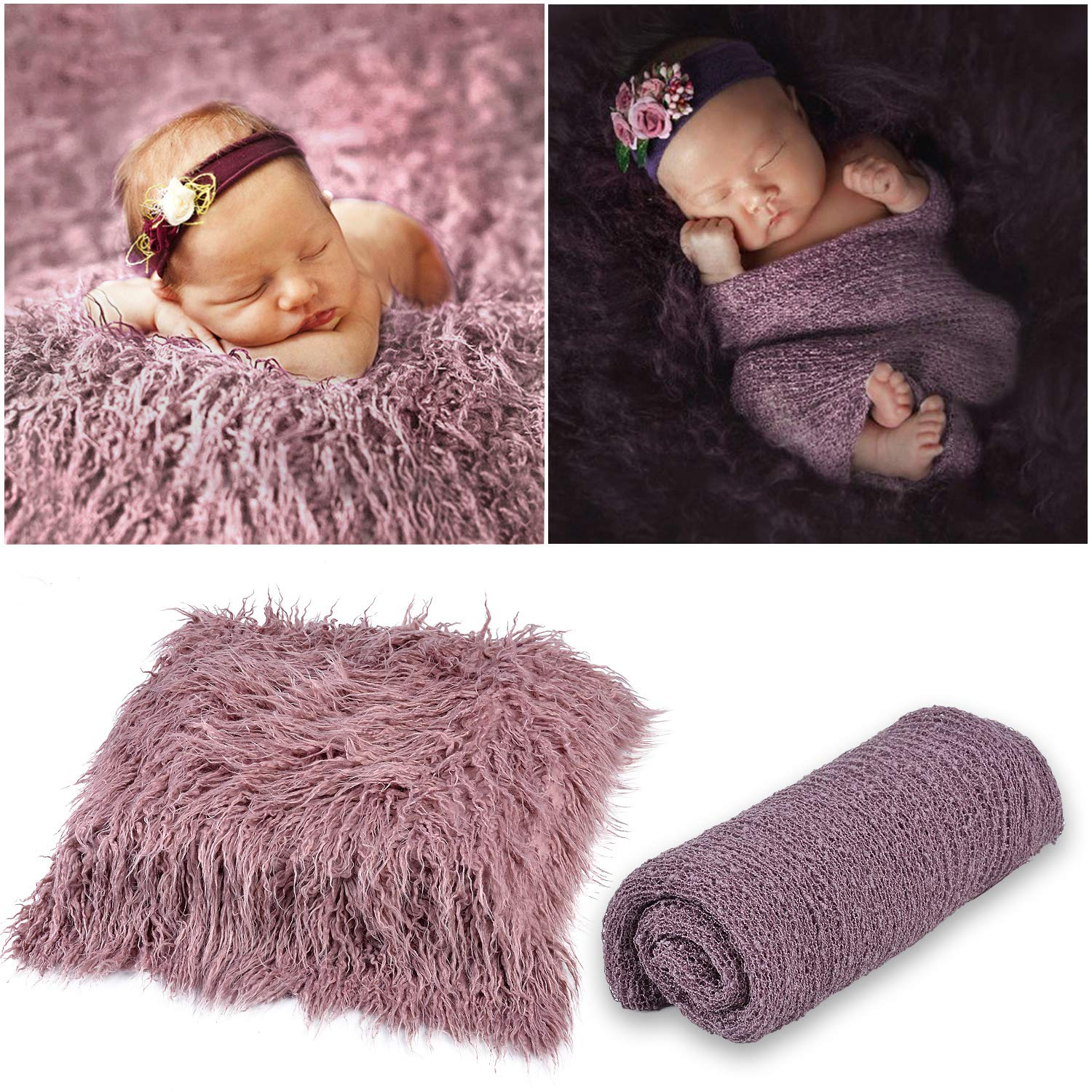 Kapmore 2PCS Baby Photo Prop Soft Warm Swaddle Blanket Photography Mat for Newborn by Kapmore