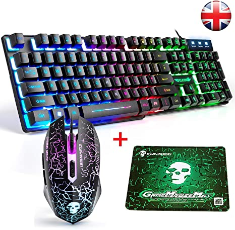 LexonElec T6 Gaming Tastatur und Maus, UK Layout: