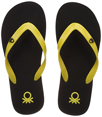 19d806207971 United Colors of Benetton Men s Basic 1 Black and Yellow Flip-Flops and  House Slippers