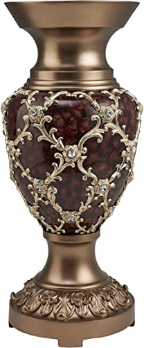 OK Lighting Curvae Decorative Vase, Brown, Bronze and Gold