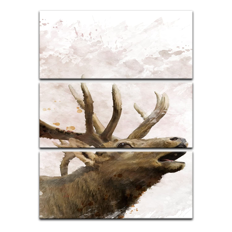 Kunstdruck - Aquarell - Hirsch - - - Bild auf Leinwand 120 x 180 cm vierteilig - Leinwandbilder - Bilder als Leinwanddruck - Tierwelten - Malerei - Geweih - Wild - röhrender Hirsch c4358c