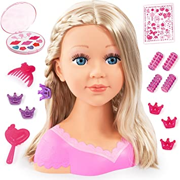 GIRLS TOY DOLL STYLING HEAD WITH ACCESSORIES COMB BRUSH HAIR CLIPS AND MAKE UP B
