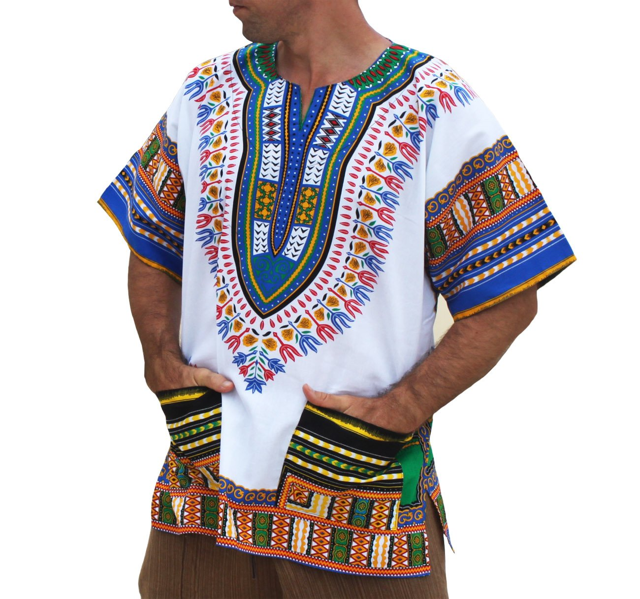 RaanPahMuang Brand Unisex Bright African White Dashiki Cotton Shirt #89 Aqua blue Medium