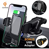 FiGoal Qi Wireless Car Charger Mount Bonus QC 3.0 USB Adapter Auto Clamping 10W 7.5W Fast Charging Air Vent Windshield Dashboard Phone Holder Compatible with iPhone X Xs Max XR 8 Android S8 S9 S10