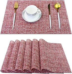 pigchcy Elegant Placemats Blended Woven Heat-Resistant Placemats Washable Easy to Clean Table Mats for Dining Room and Decorate (6pcs, Wine Red)