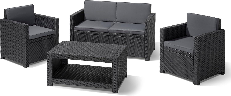 Allibert 206459 Lounge Set Monaco (2 Sessel, 1 Sofa, 1 Tisch), Rattanoptik,  Kunststoff, anthrazit