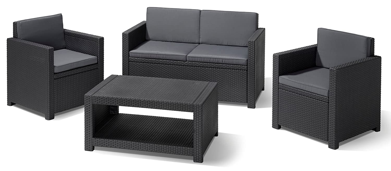 Allibert 206459 Lounge Set Monaco (2 Sessel, 1 Sofa, 1 Tisch), Rattanoptik, Kunststoff, anthrazit