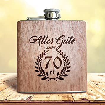 Amazon De Holz Flachmann Geschenk Zum 70 Geburtstag 70er Manner