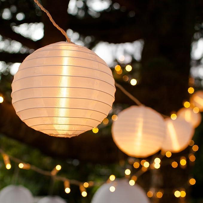 5,5 Meter Kein l/ästiges austauschen der Batterien 15 LEDs warm-wei/ß LED Lampion Lichterkette Mit Netzstecker NICHT batterie-betrieben LED Lampions von CozyHome