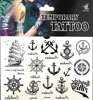 Pack Of 8 Sailor Pirate Nautical Marine Fake Transfers Tattoos Fancy Dress New