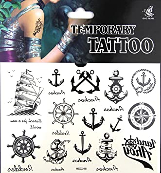 758e241e638b7 Sexy Sailor Style With Anchors Water Transfer Flash Fake Temporary Tattoo  Stickers Tattoos Makeup: Amazon.co.uk: Beauty