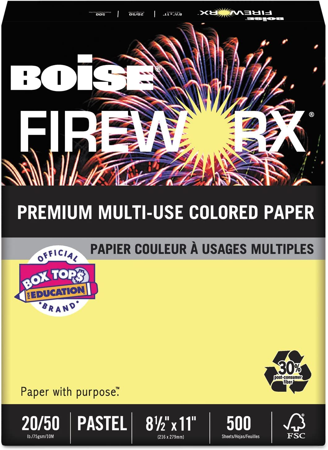 8-1//2 x 11 20lb 500 Sheets//Ream Boise MP2201CY FIREWORX Colored Paper Crackling Canary