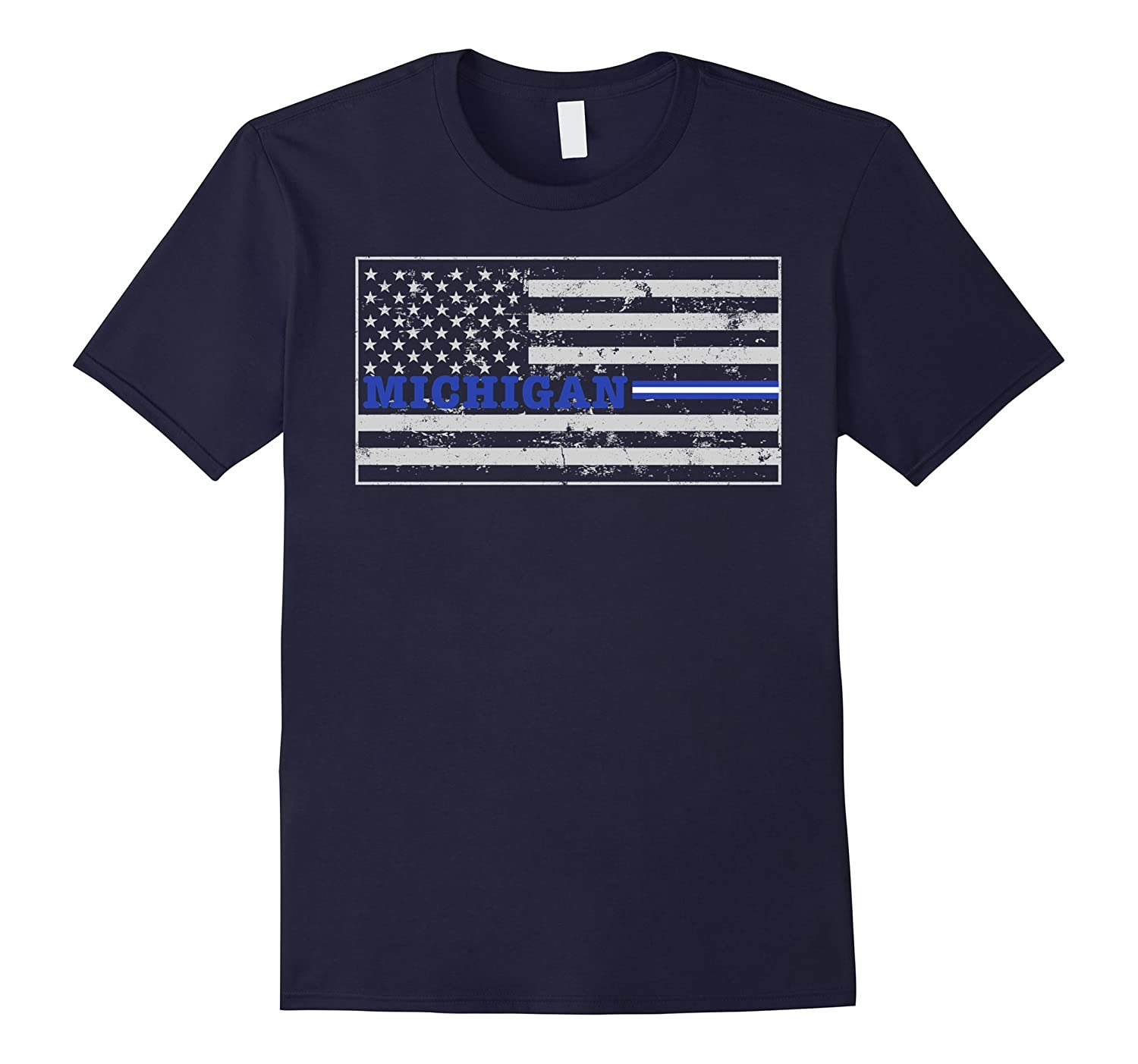 Michigan Paramedic EMT Thin White Line Flag Shirt-TD