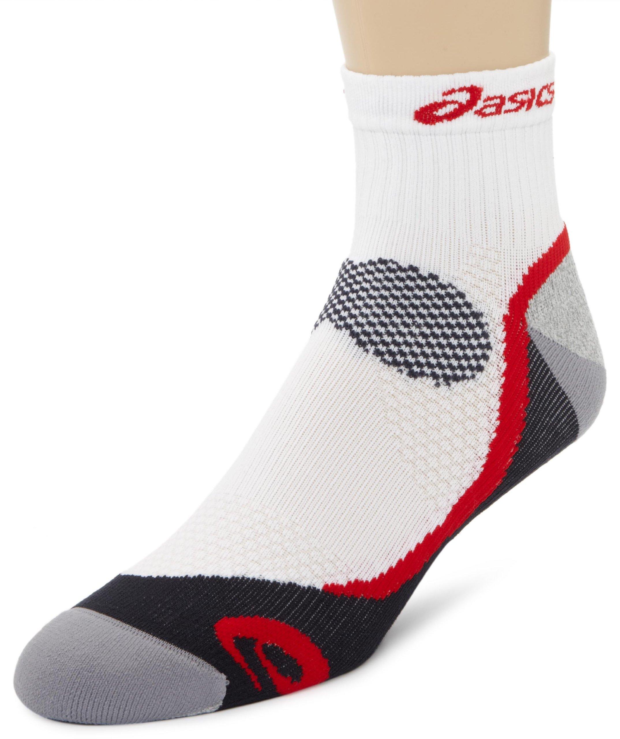 ASICS Kayano Classic Quarter Socks, White/Frost/Iron/Sport Red, 1-Pair, X-Small