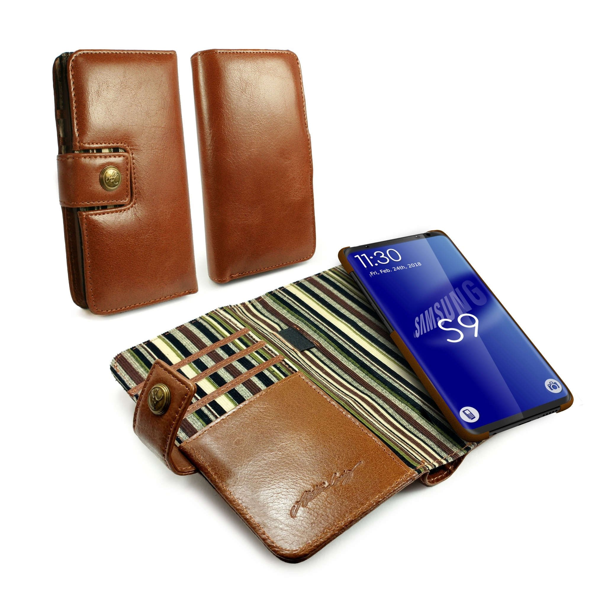 Alston Craig J9_37 Gentlemen's Traditional Vintage Genuine Leather [with RFID Blocking] Magnetic Shell Folio Wallet Case Cover No Bill fold for Galaxy S9 Plus - Brown